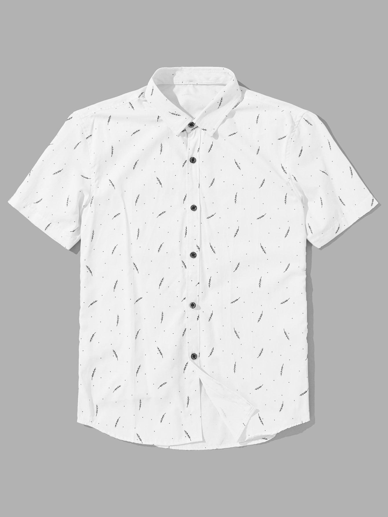 Men Branches Print Blouse men zebra print blouse