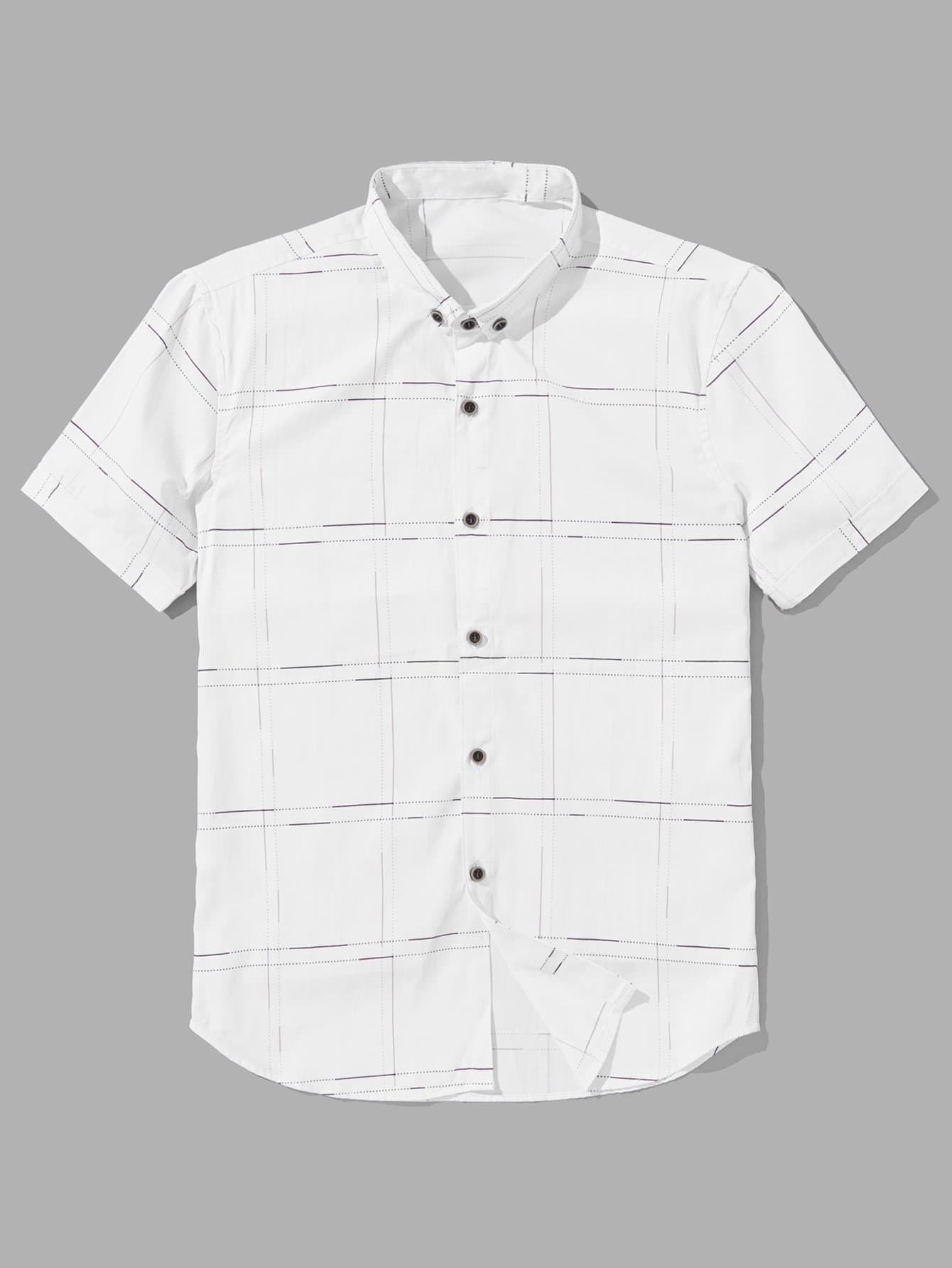 Men Grid Print Blouse