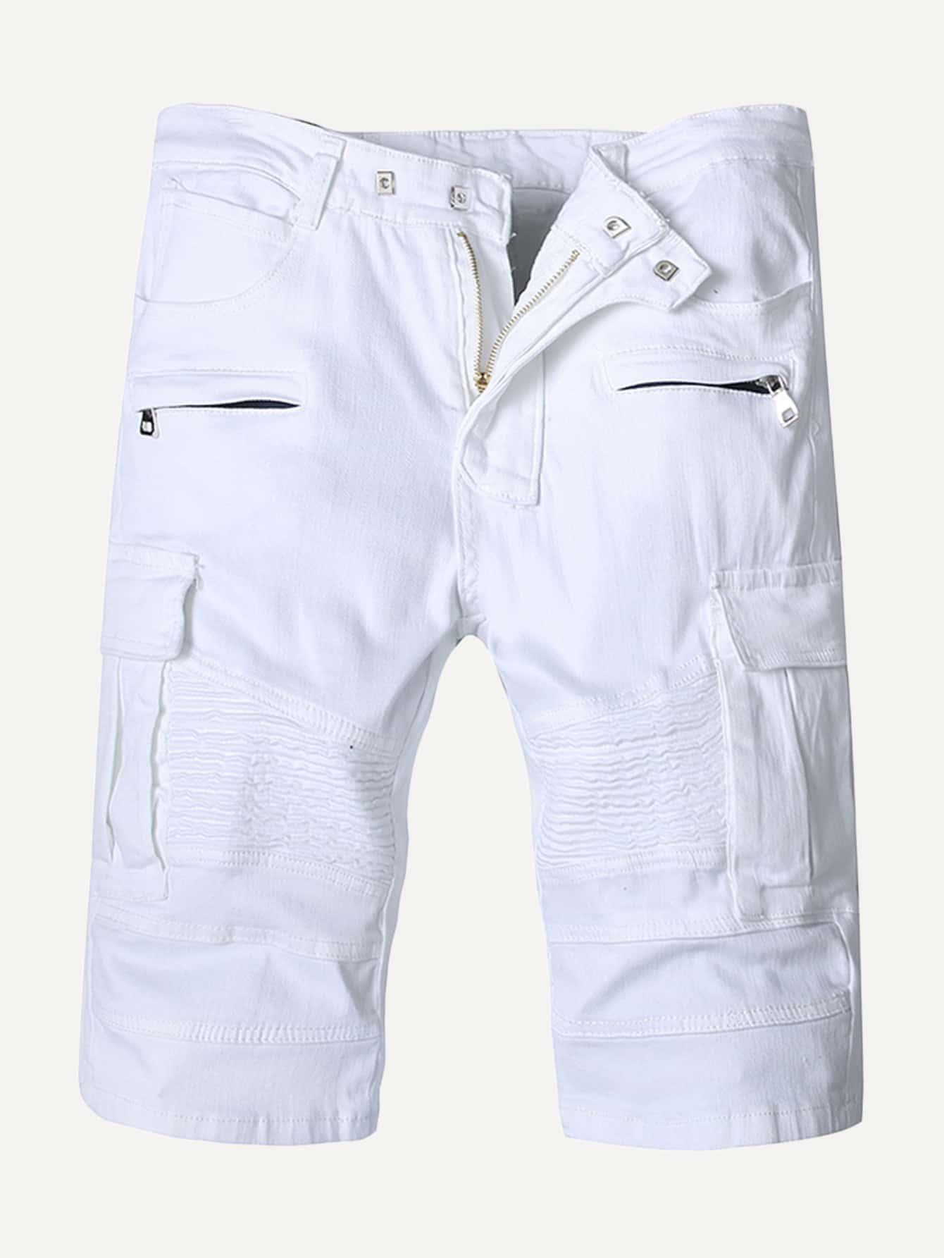 Men Zip Decoration Make Old Pants
