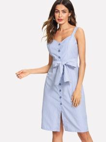 Tie Waist Button Stripe Cami Dress