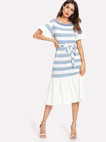 Ruffle Hem Tie Waist Stripe Dress