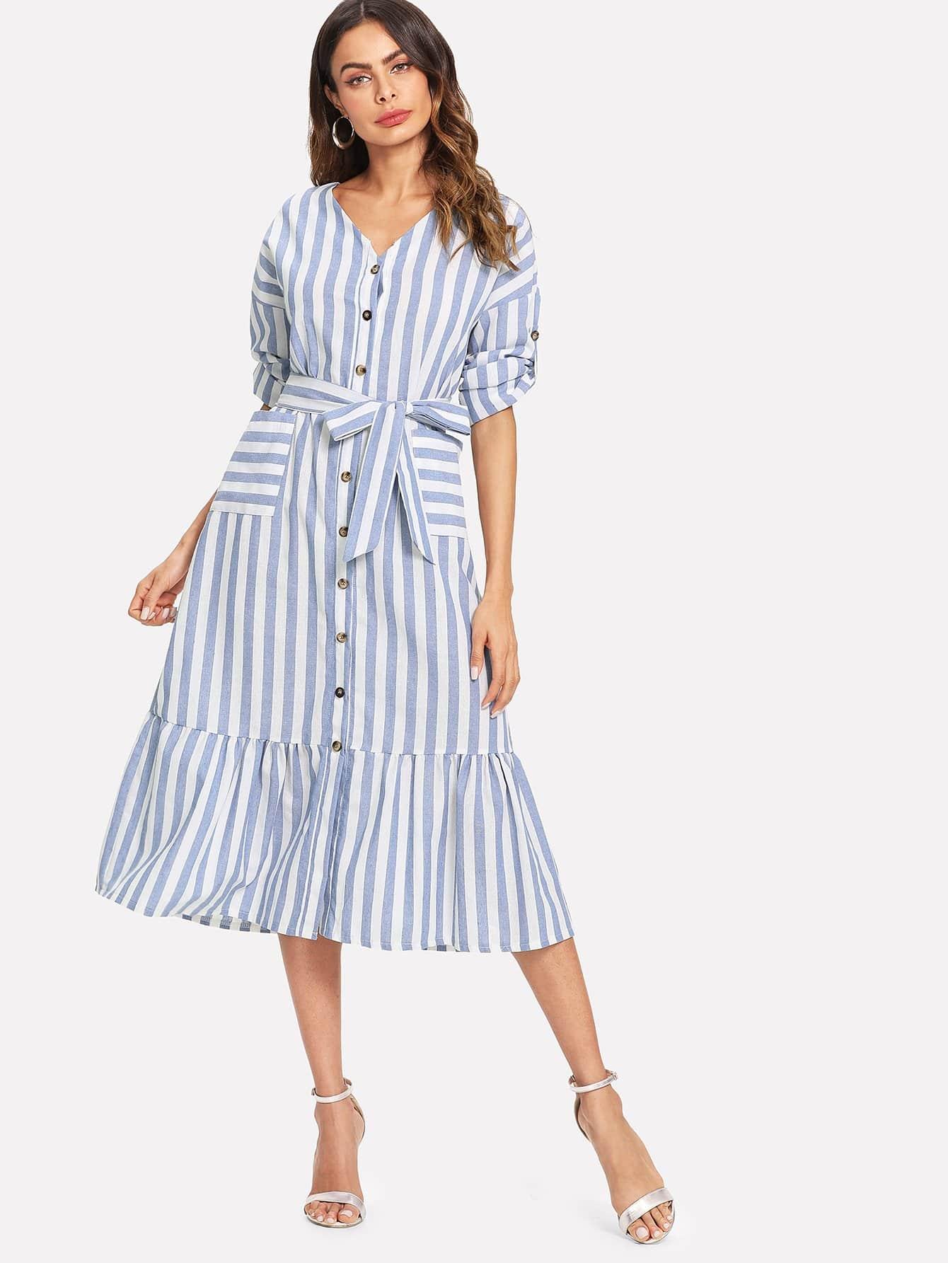 Купить Платье со сбором, поясом и полосками, Andy, SheIn