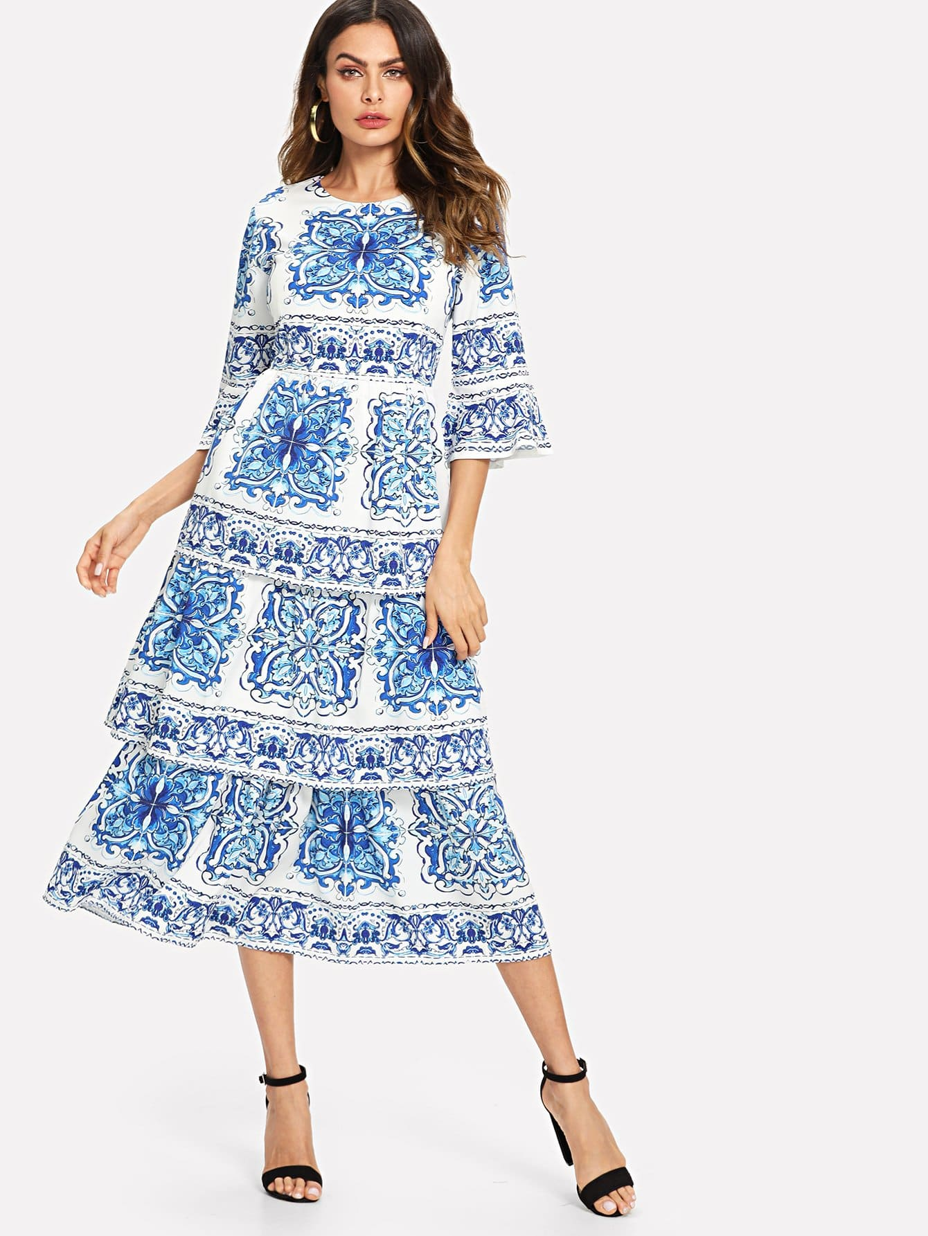 цена на Floral Print Ruffle Sleeve Tiered Dress