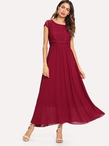Lace Contrast Chiffon Tank Dress