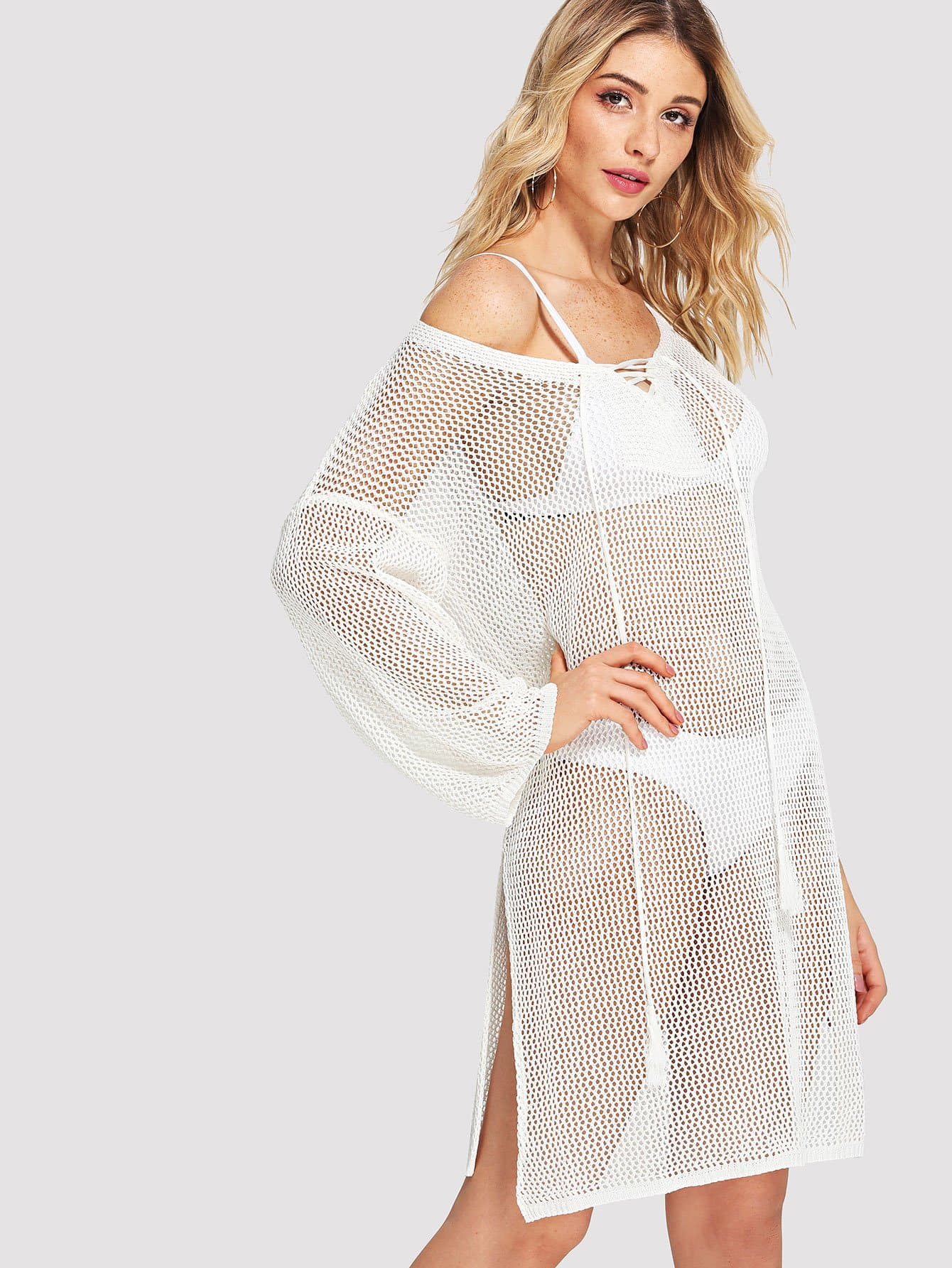 Split Side Lace Up Cover Up Dress split mesh skirt cover up