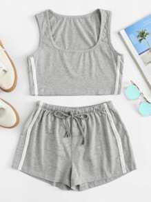 Stripe Contrast Tank Top & Drawstring Shorts