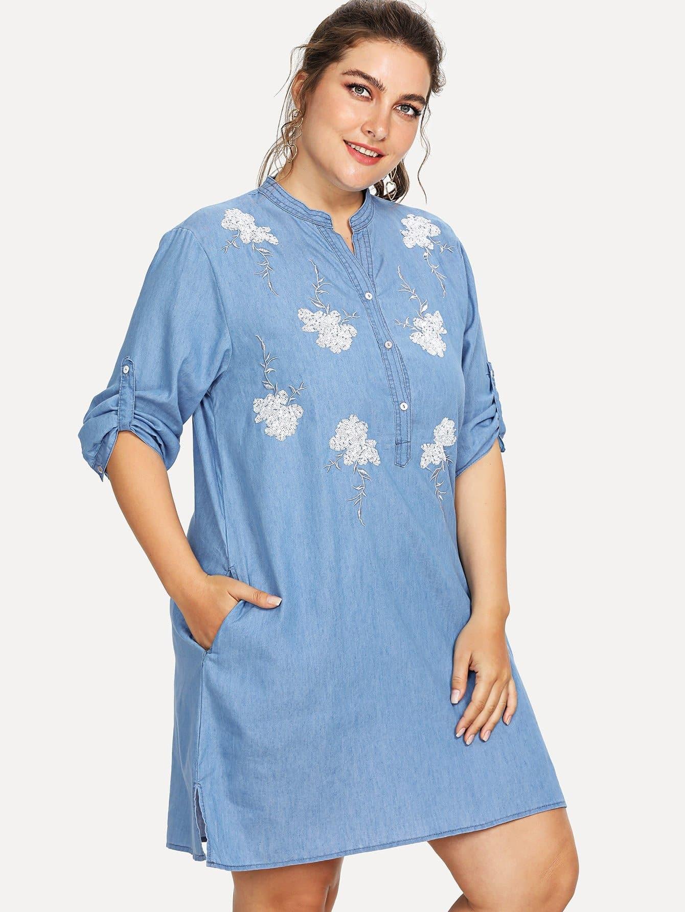 Flower Embroidered Denim Dress embroidered sleeve denim tunic dress