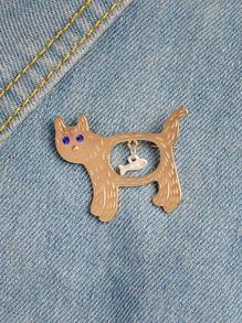 Cat & Fish Shaped Brooch