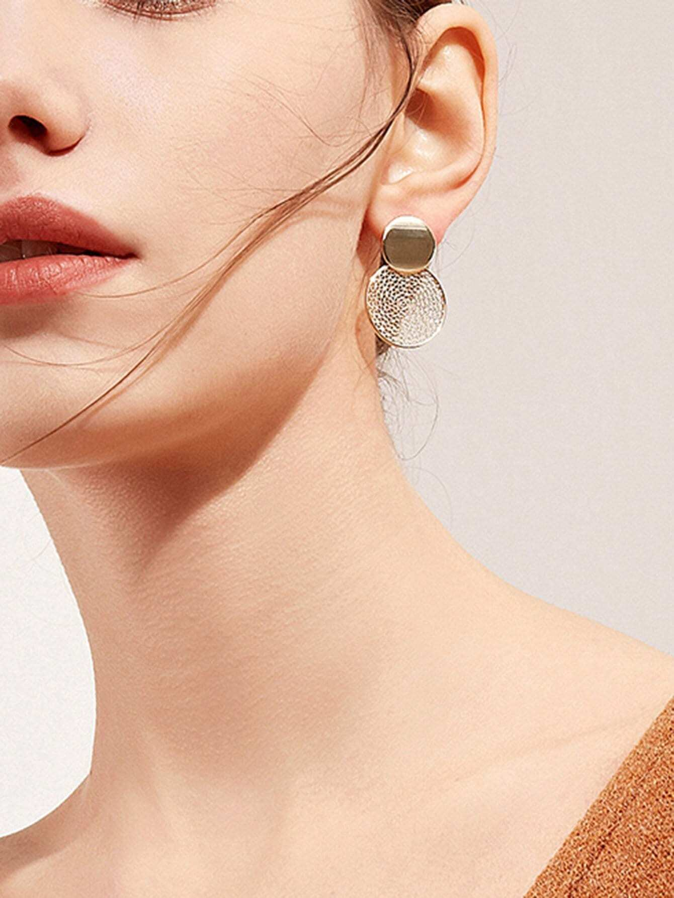 Hollow Round Design Stud Earrings