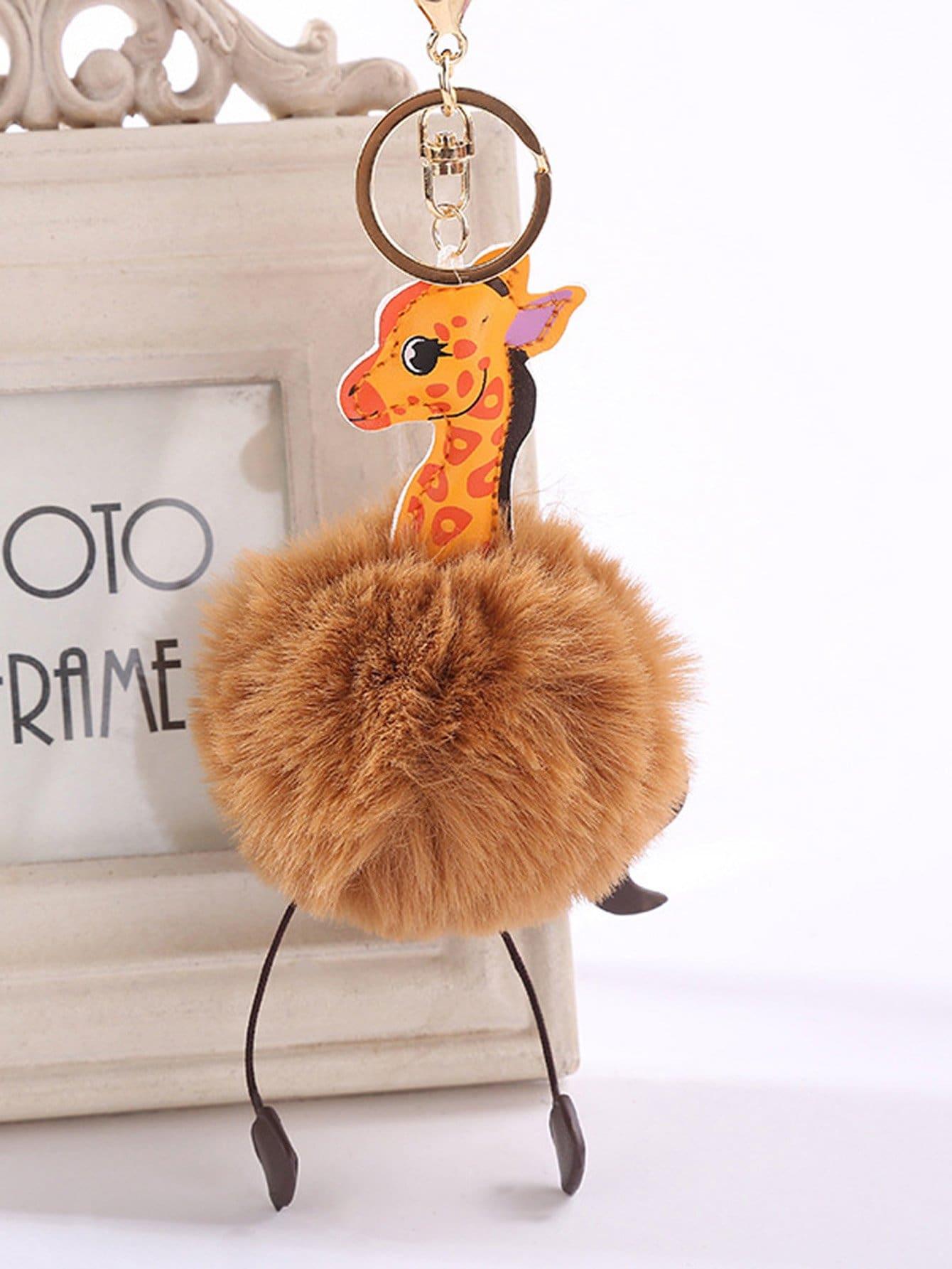 Giraffe Design Pom Keychain