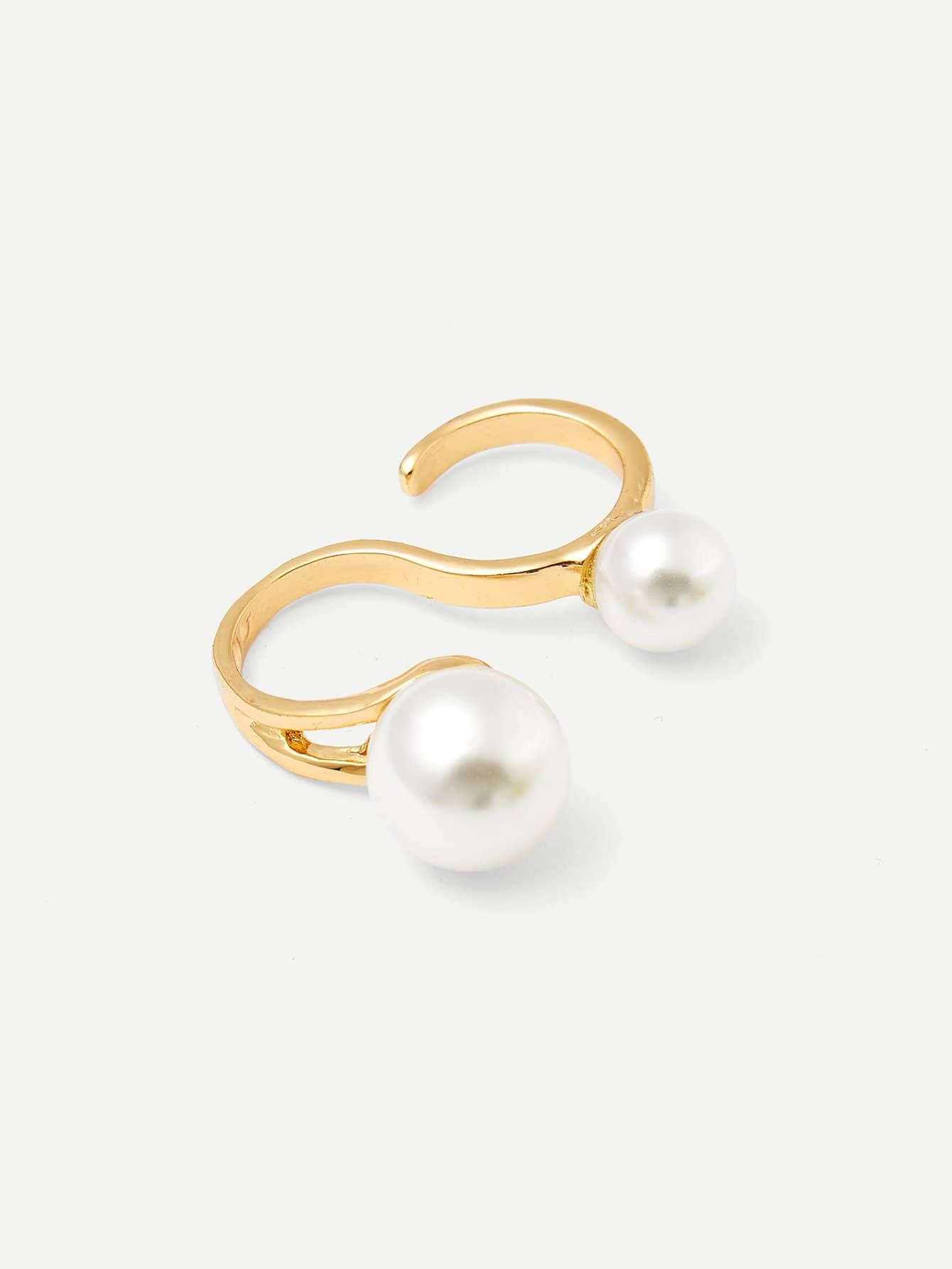 Faux Pearl Decorated Ring faux pearl asymmetrical ring