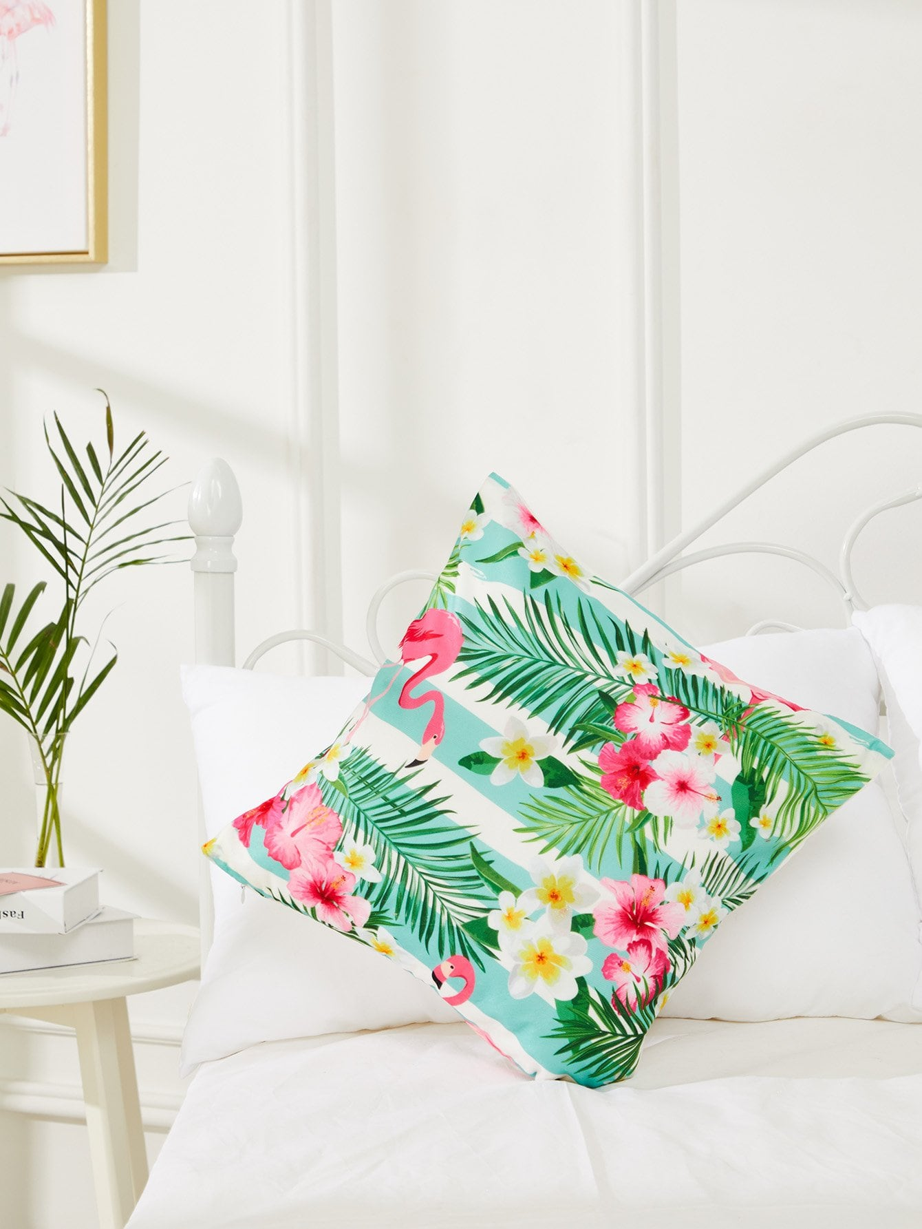 Flamingo & Tropical Print Cushion Cover