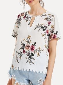 Scallop Hem Floral Print Blouse