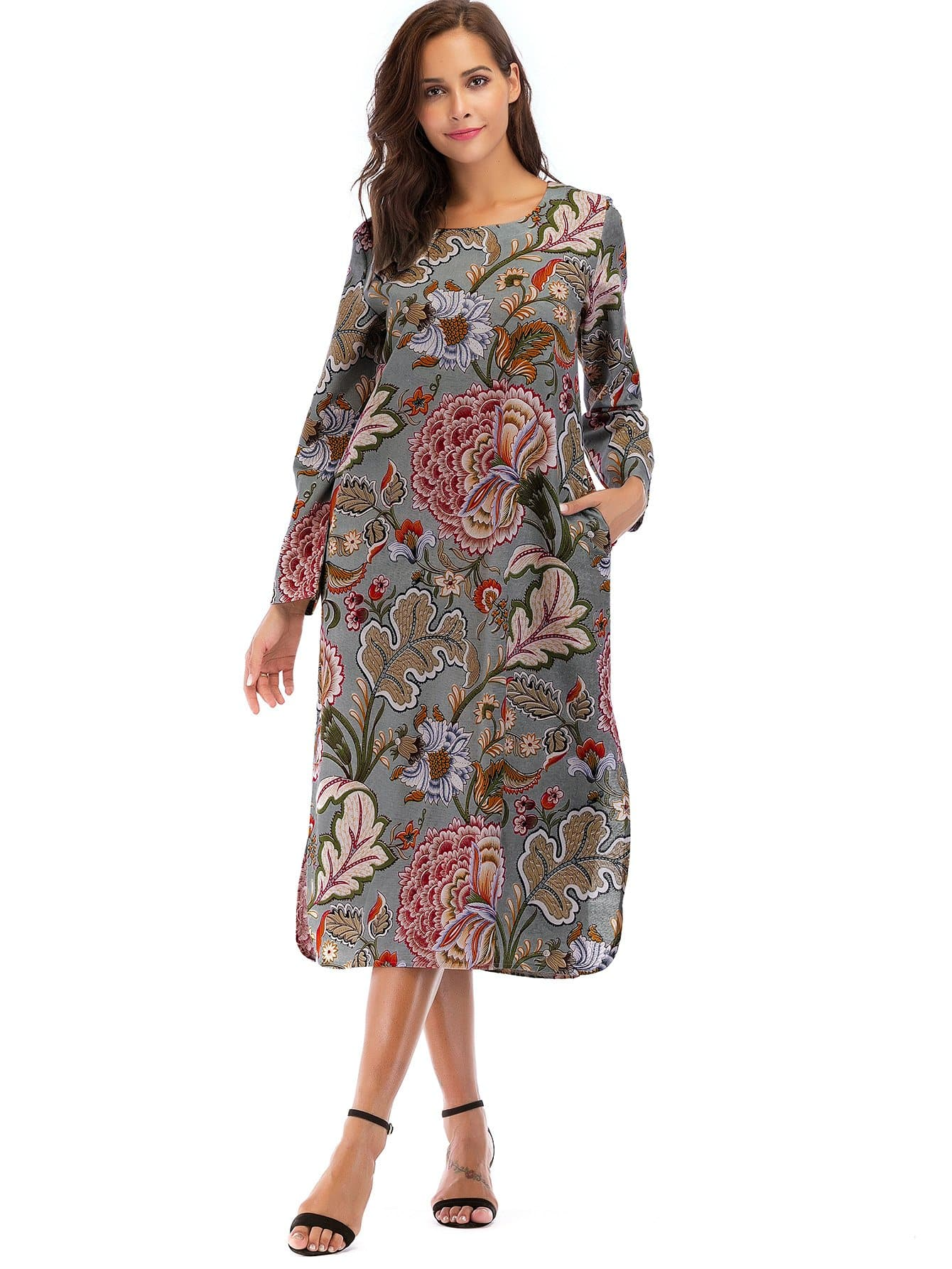 Floral Print Split Side Dress floral print split side dress