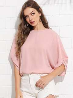 Batwing Sleeve Keyhole Back Solid Top