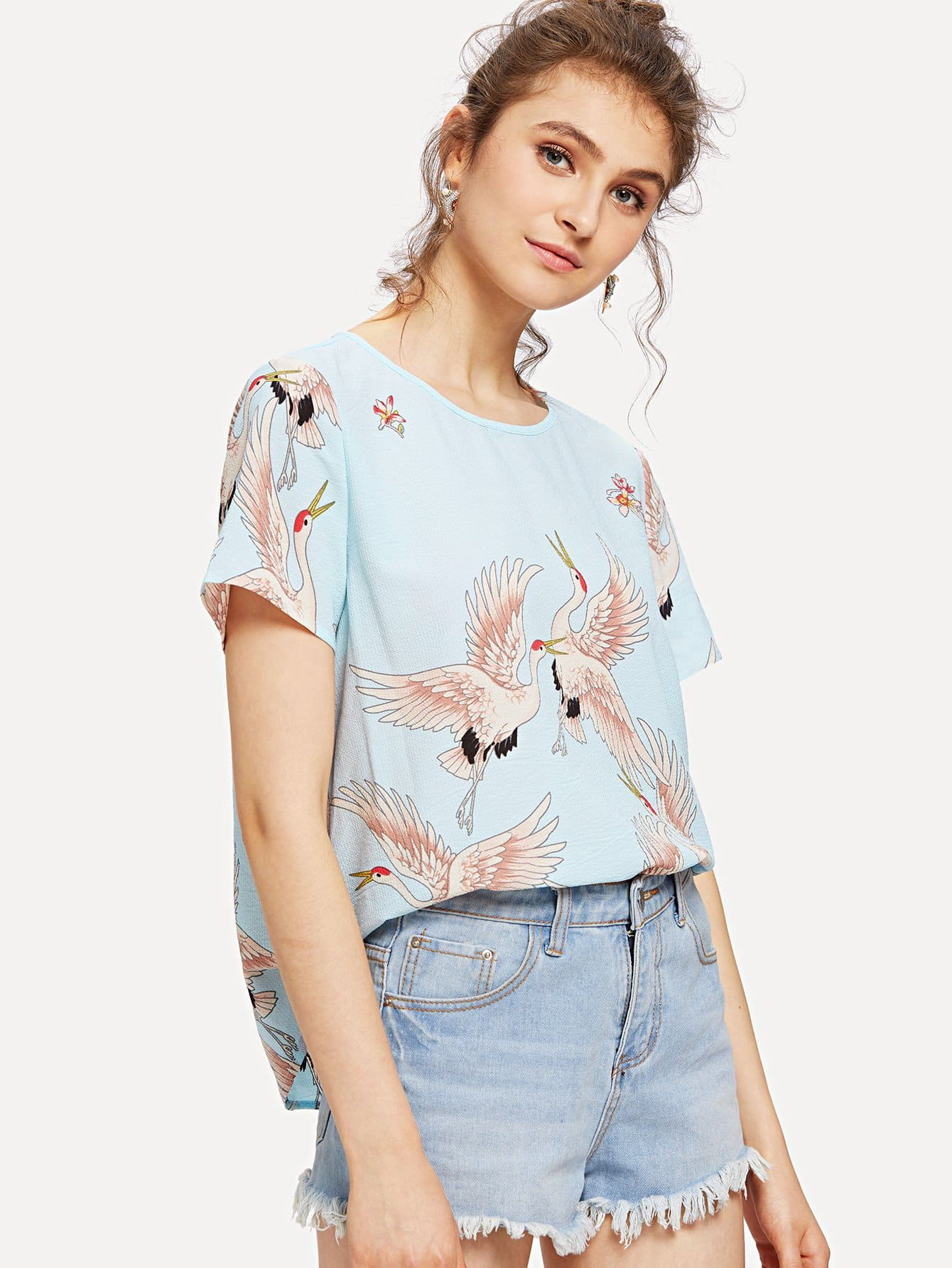 Red-crowned Crane Print Top iron crowned