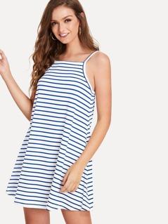 Stripe Print Swing Cami Dress