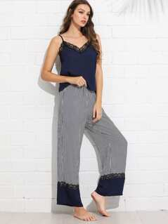 Lace Trim Cami Top and Wide Leg Striped Pants PJ Set