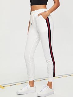 Contrast Striped Side Drawstring Waist Pants
