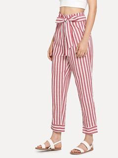 Self Belted Pocket Side Striped Pants