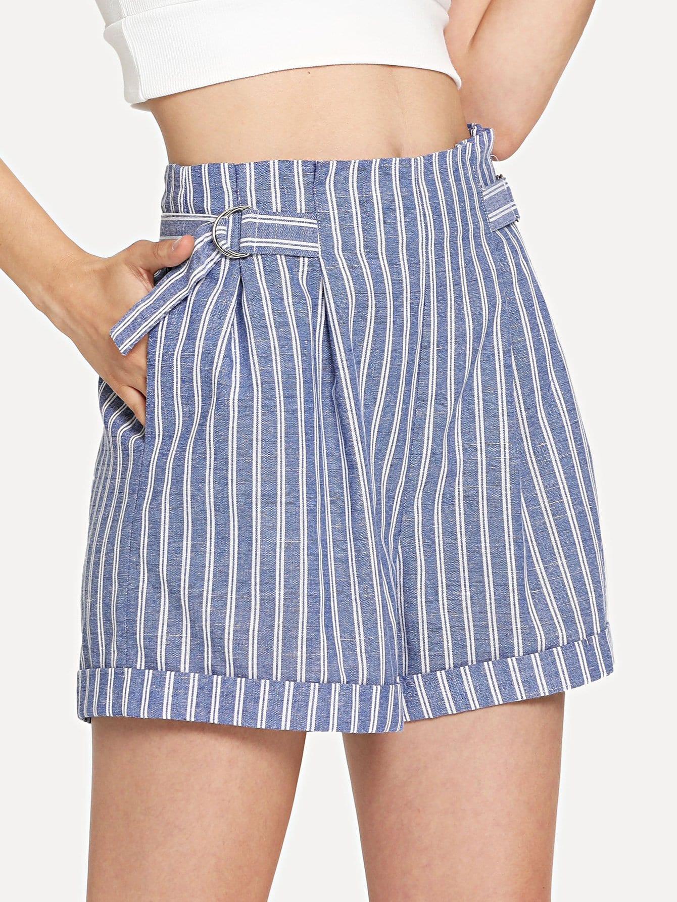 Ring Detail Rolled Hem Striped Shorts striped rolled hem shorts