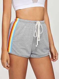 Striped Side Drawstring Shorts