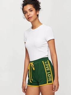 Letter Side Contrast Binding Drawstring Waist Shorts