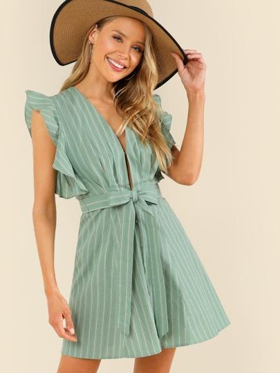 Ruffle Cap Sleeve Button Up Stripe Dress