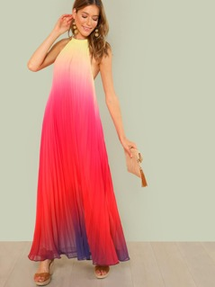 Halter Strap Pleated Ombre Maxi Dress