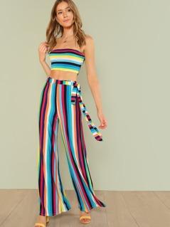 Stripe Bandeau Top and High Waist Flowy Pants