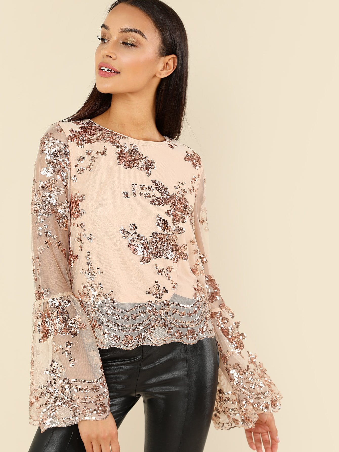 Flounce Sleeve Contrast Sequin Floral Top