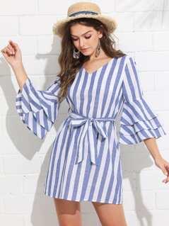 Tiered Ruffle Sleeve Belted Stripe Dress