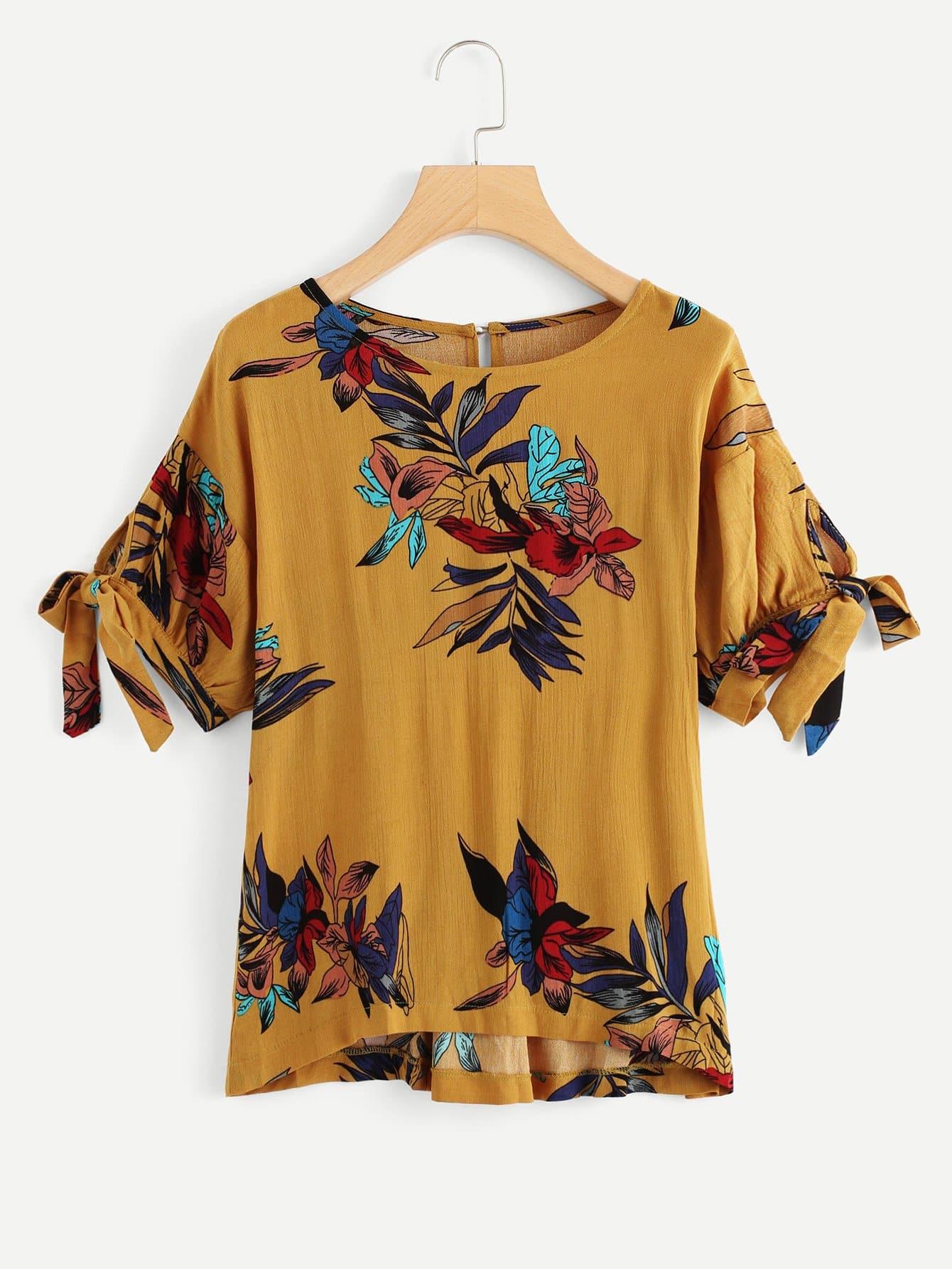 Flower Print Tie Cuff Blouse tie cuff button front blouse
