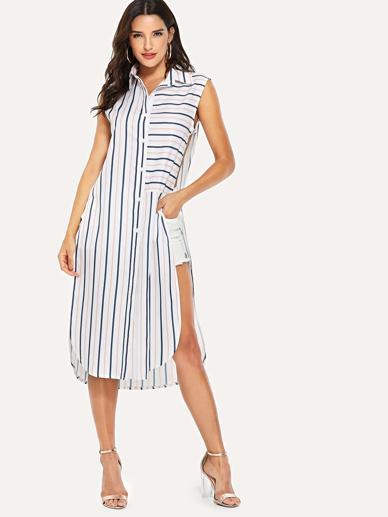 Cut Out Side Striped Longline Shirt black longline gilet with side cut details