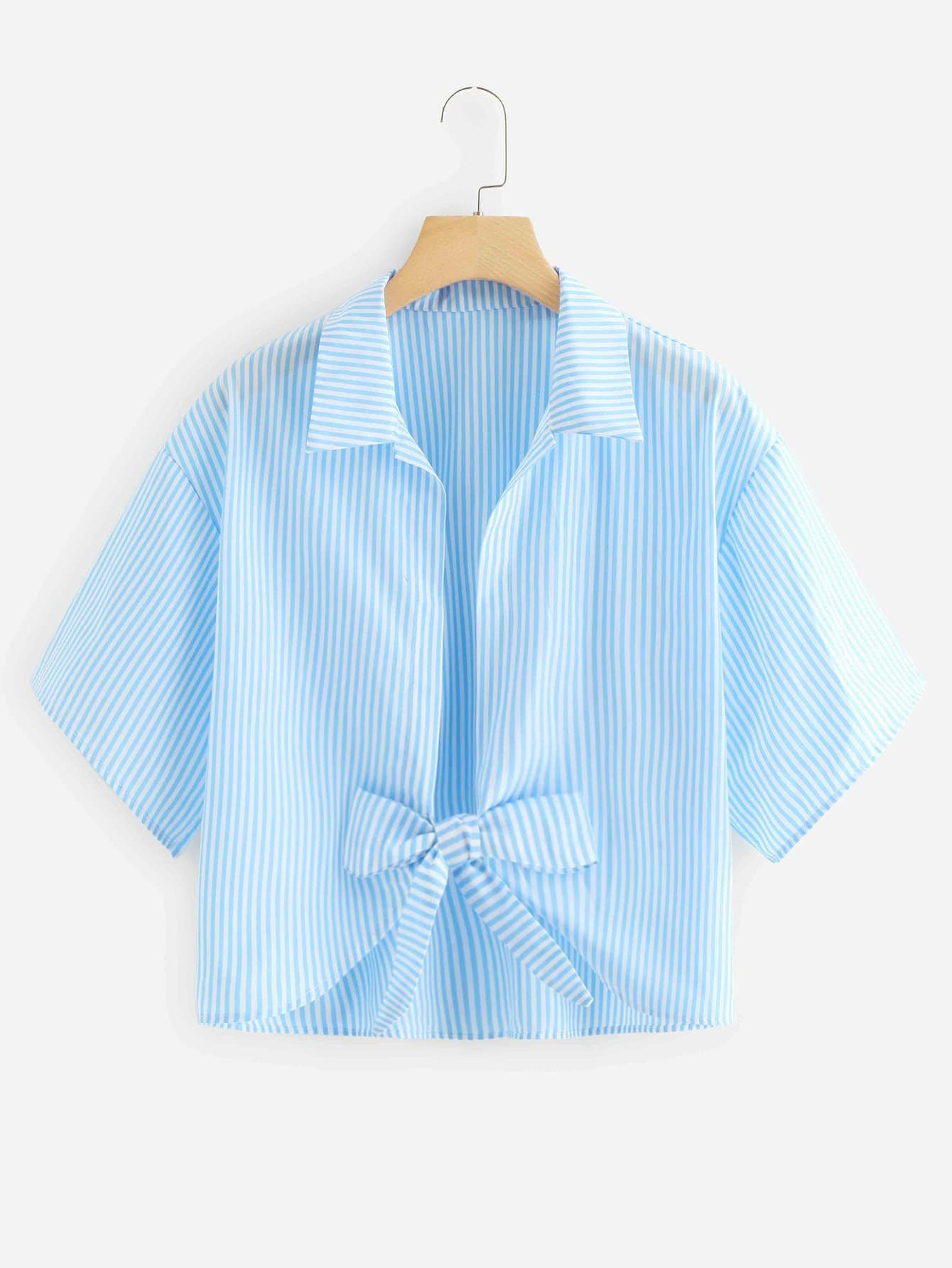 Knot Front Striped Blouse button front striped blouse