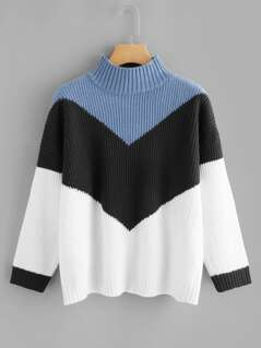 Cut And Sew Chevron Pattern Jumper