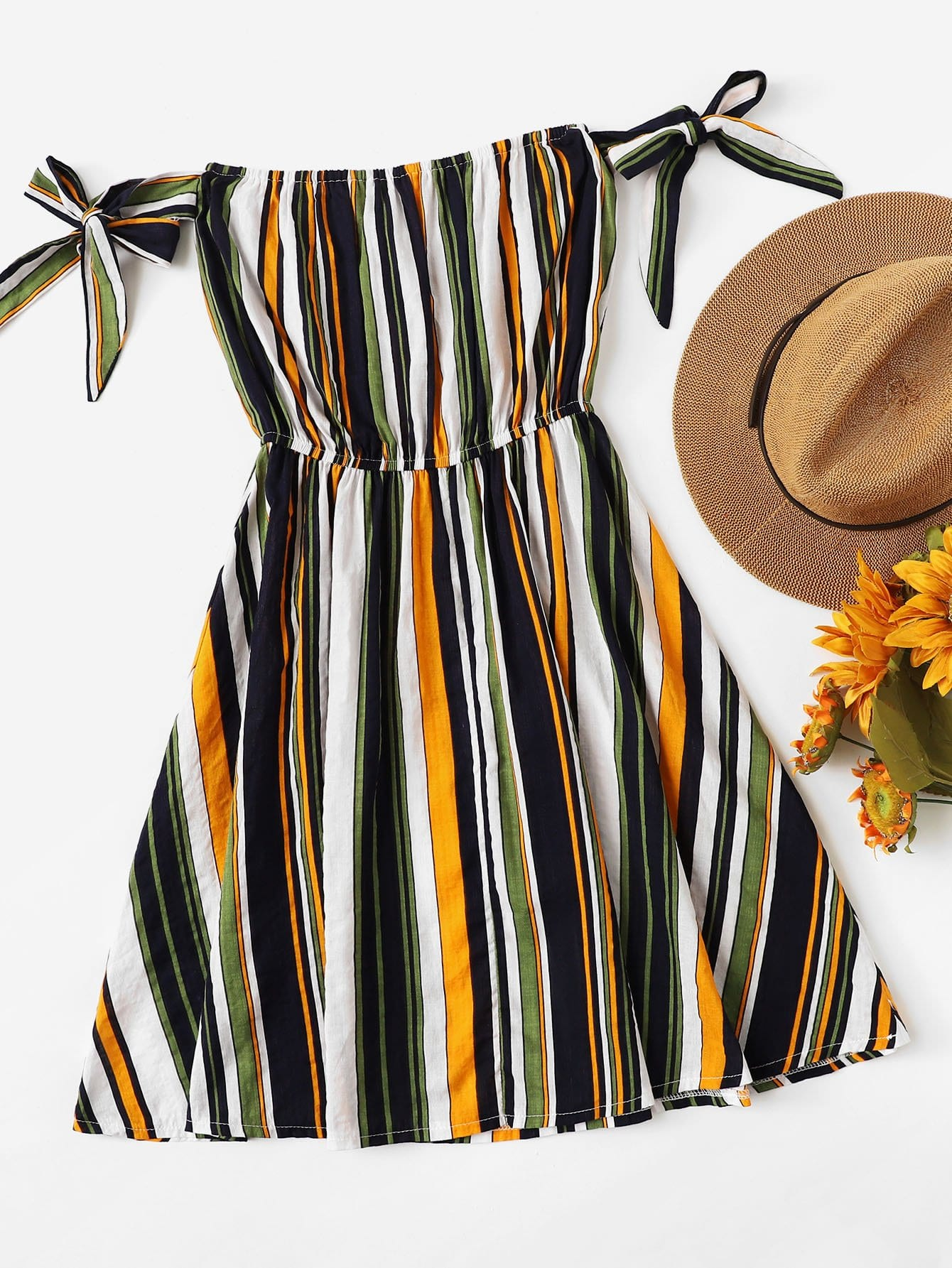 Multi-Stripe Tie Detail Dress
