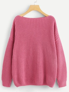 Drop Shoulder Boat Neck Jumper
