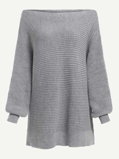 Bishop Sleeve Solid Bardot Jumper
