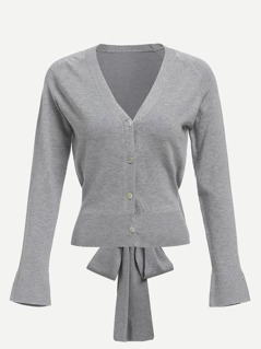Bow Tied Back Button Up Sweater