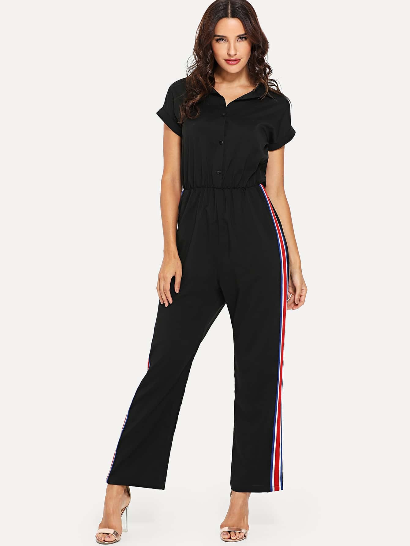 Striped Tape Side Jumpsuit striped tape side legging shorts