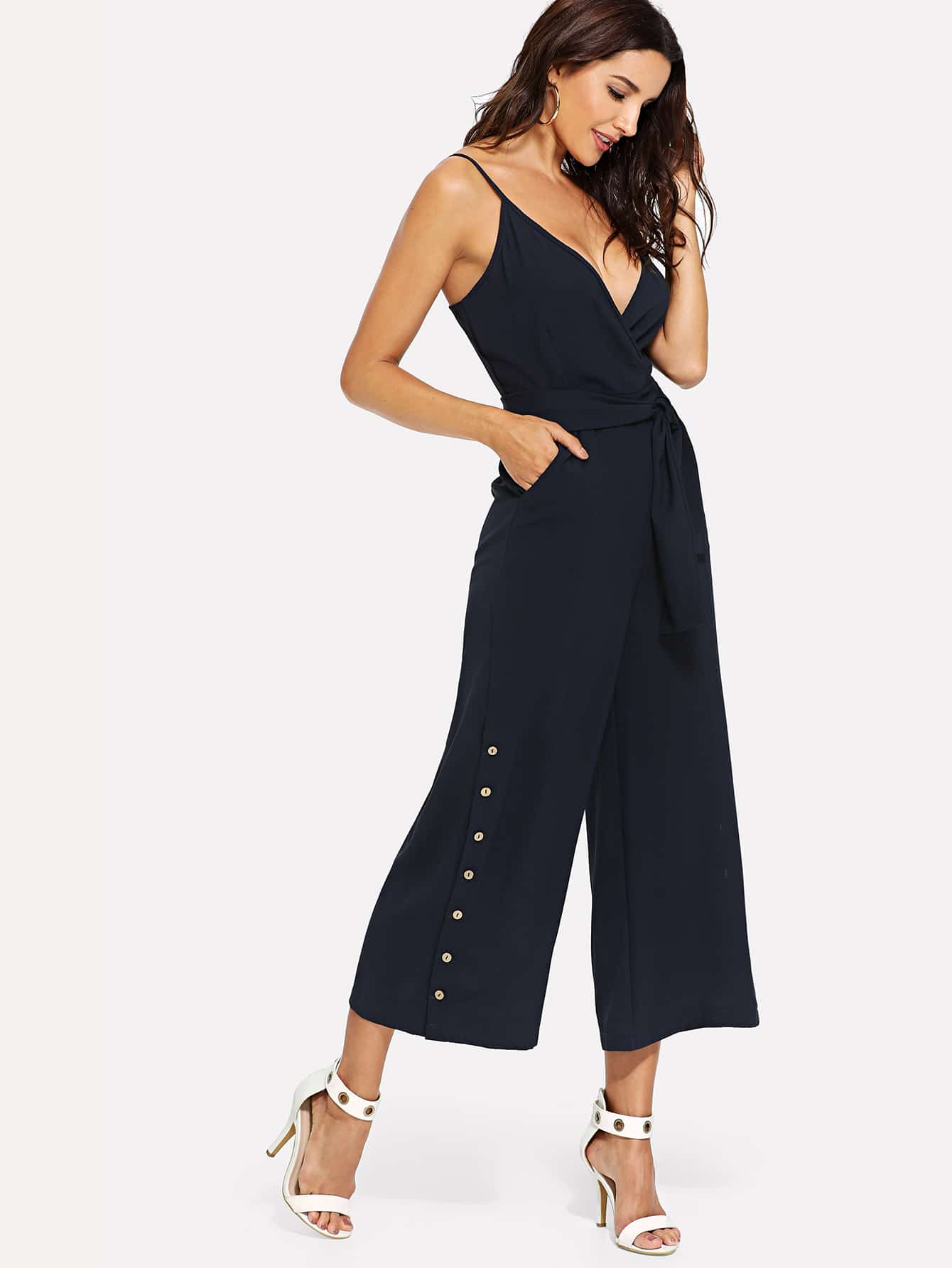 цена на Surplice Neckline Self Tie Cami Jumpsuit
