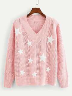 Star Print Loose Knit Jumper