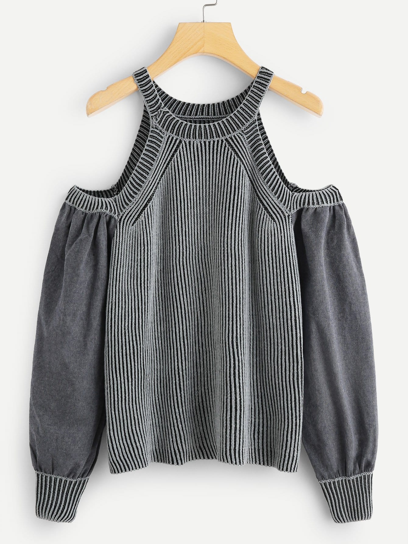 цена Open Shoulder Stripe Knit Halter Jumper