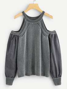 Open Shoulder Stripe Knit Halter Jumper