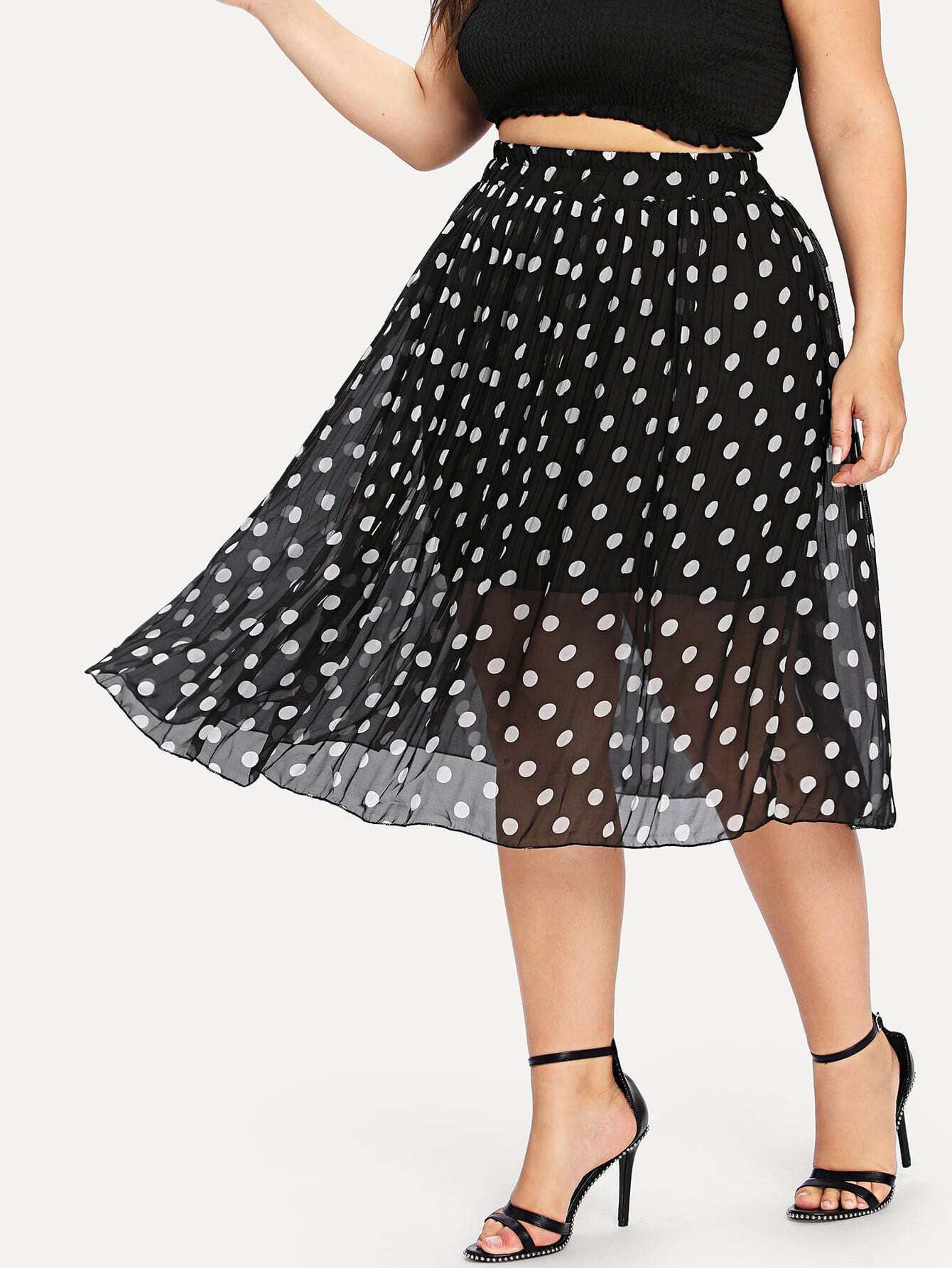 Plus Spot Chiffon Skirt