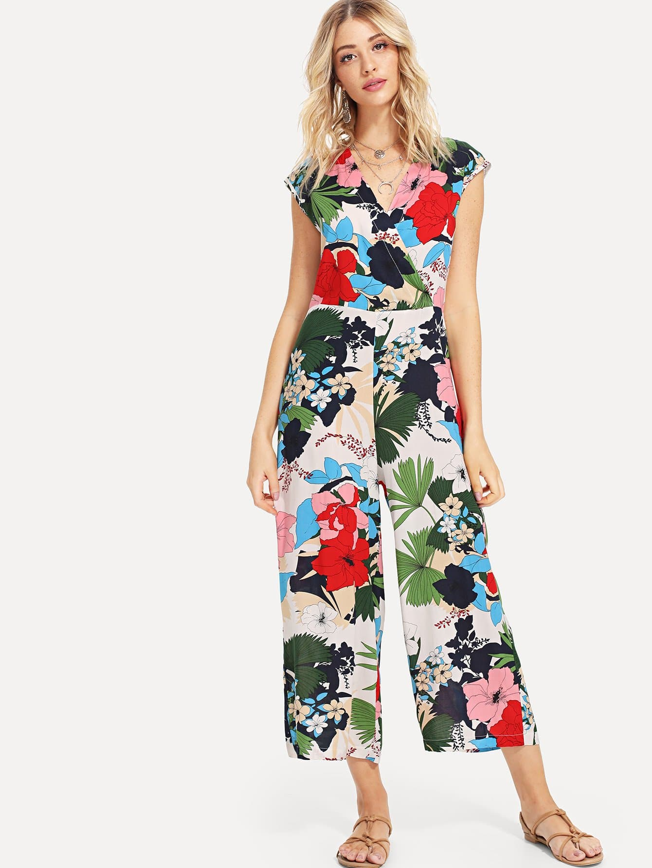Wrap Front Split Back Palazzo Jumpsuit wrap front floral jumpsuit with belt