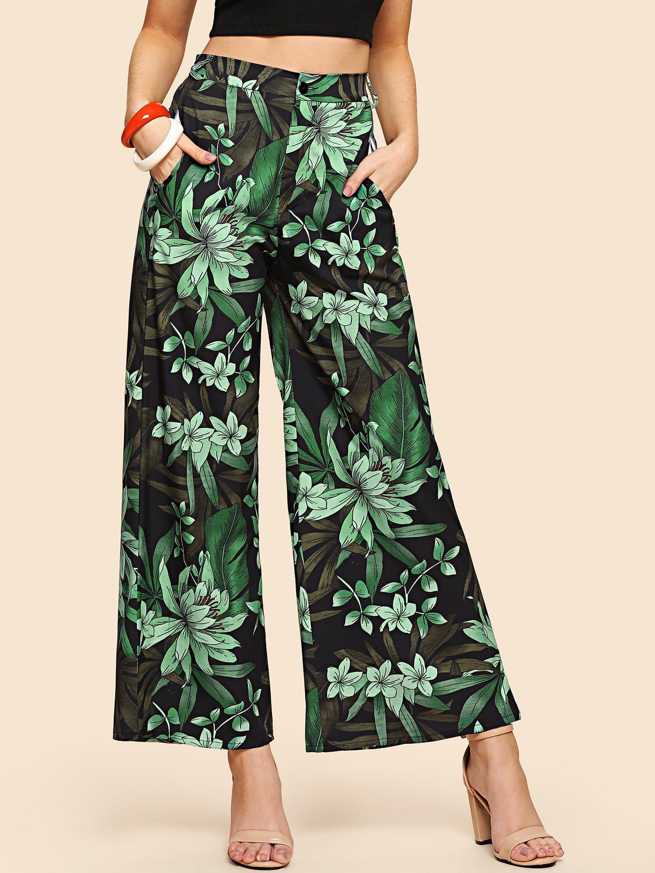 Ботанические брюки с широкими ногами, Nathane, SheIn  - купить со скидкой