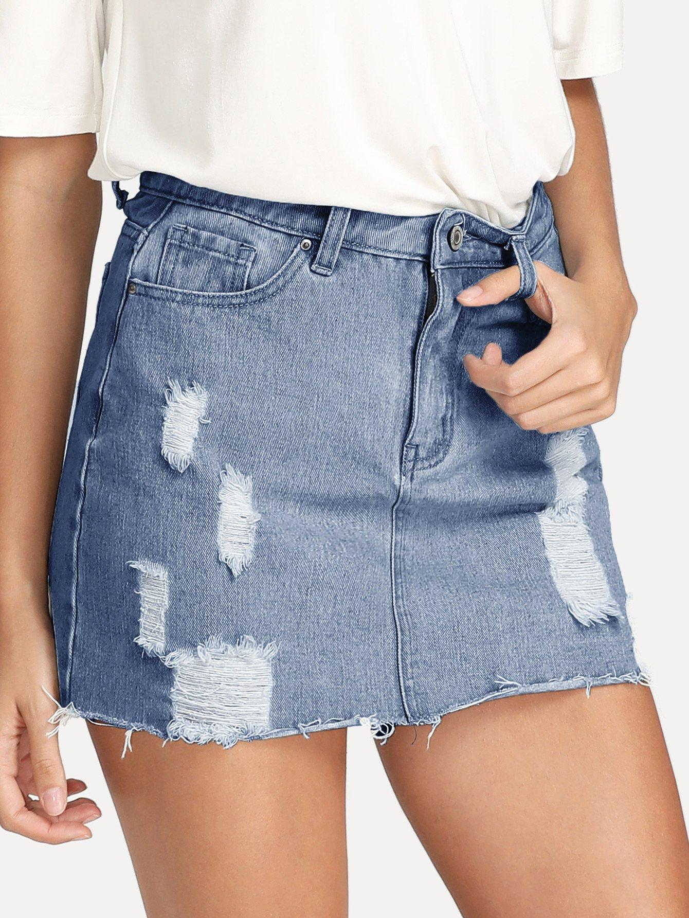 Ripped Raw Hem Denim Skirt ripped raw hem denim skirt
