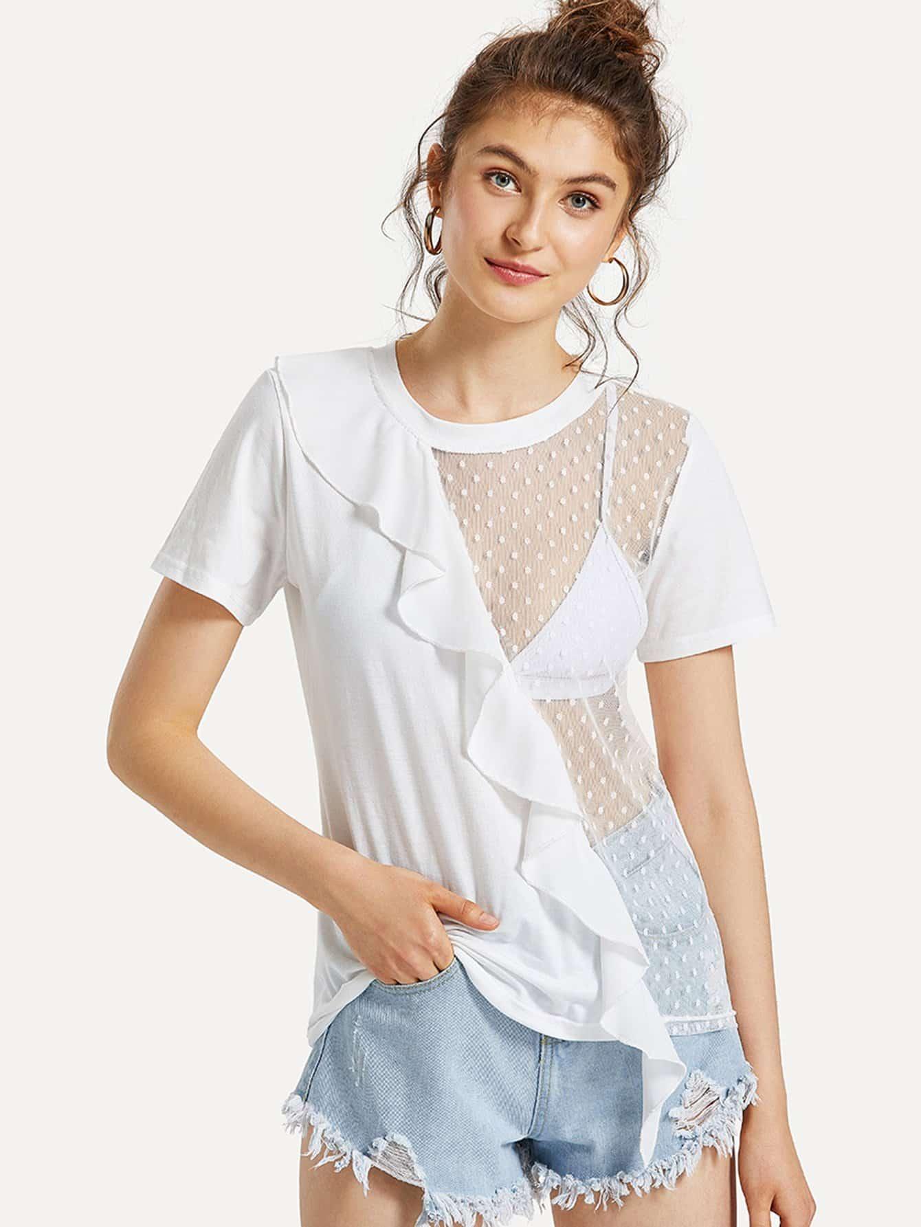 Ruffle Trim Dot Mesh Panel T-shirt asymmetrical ruffle trim t shirt
